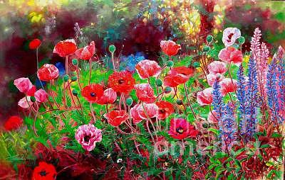Flower Painting - Poppy Garden by Bo Li