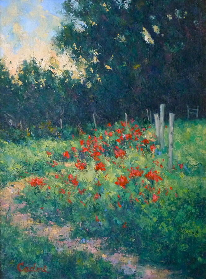 Poppy Garden Painting by Gene Cadore