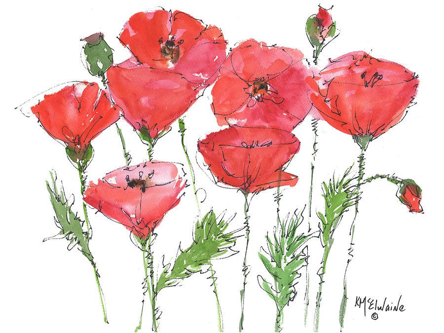 Red Poppy Painting - Poppy Garden by Kathleen McElwaine