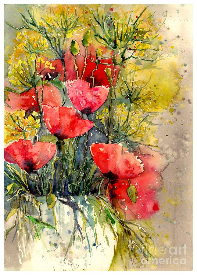Red Painting - Poppy Impression by Suzann Sines