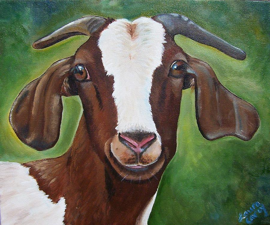 Goat Painting - Poppy by Laura Carey