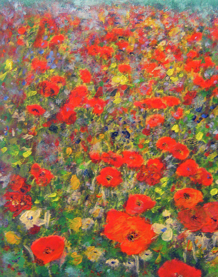 Red Poppy Meadow Painting