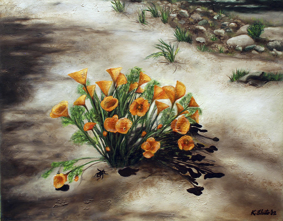 Poppies Painting - Poppy Oasis by Kathy Shute