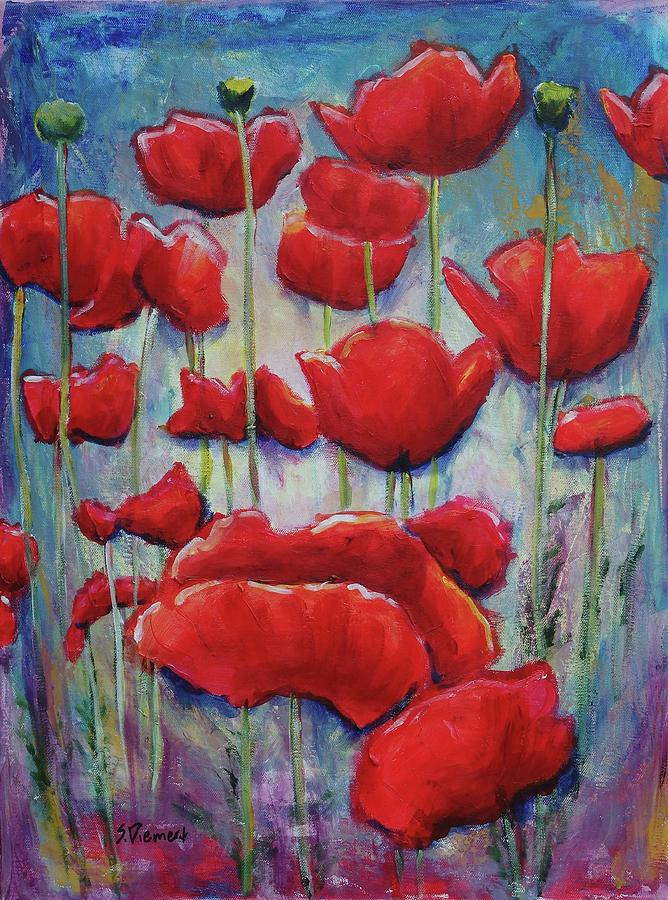 Poppy Pageant I Painting