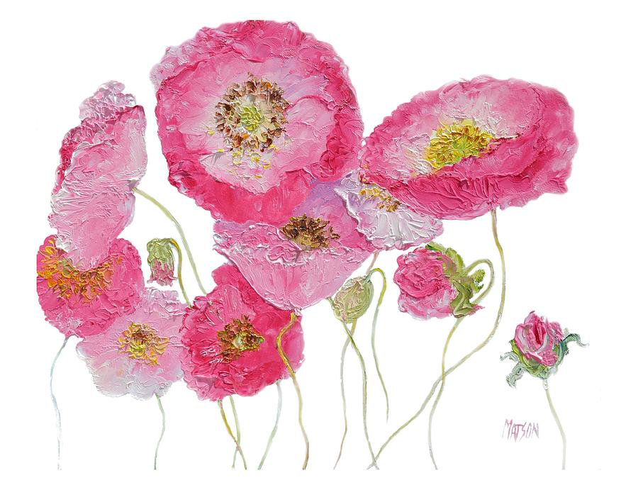 Poppies Painting - Poppy Painting On White Background by Jan Matson