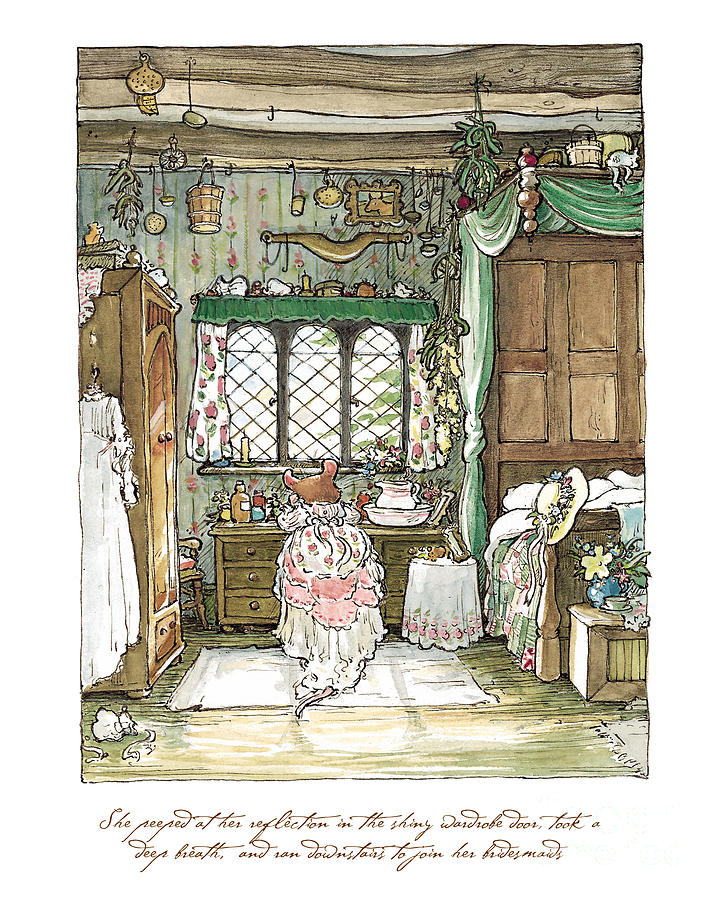 Brambly Hedge Drawing - Poppy puts on her wedding dress by Brambly Hedge