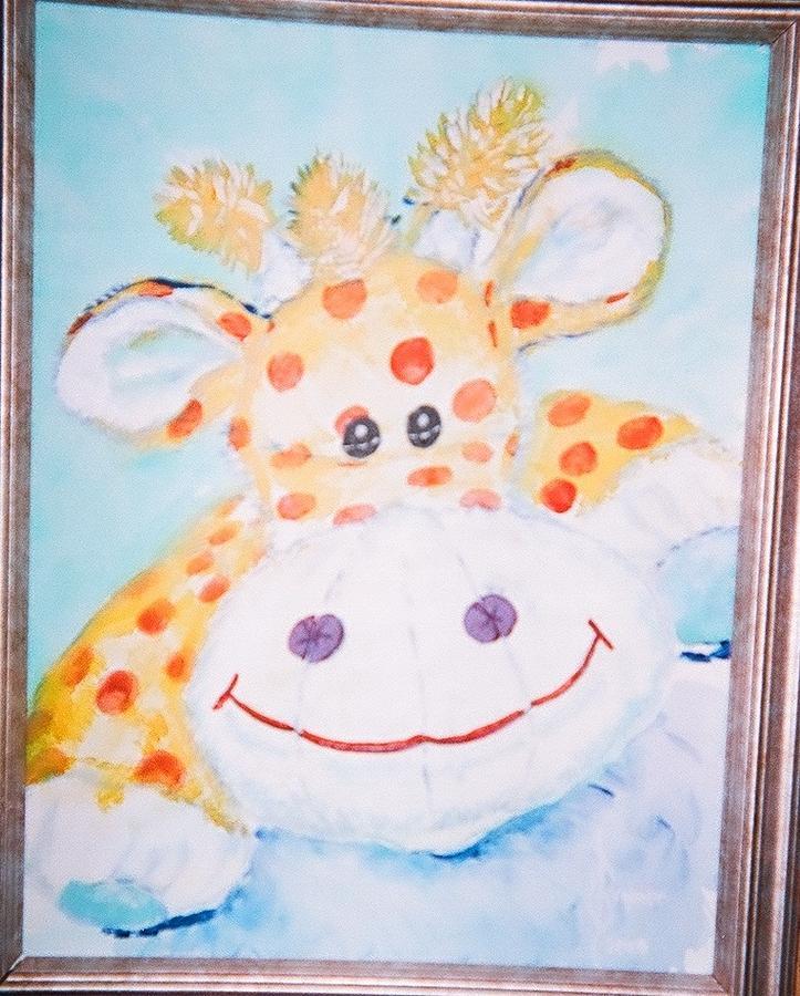 Stuffed Animal Painting - Poppy The Giraffe by Lulu Brymer