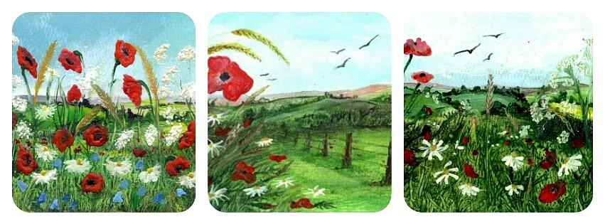 Encaustic Painting - Poppy Tryptic by Carol Rowland