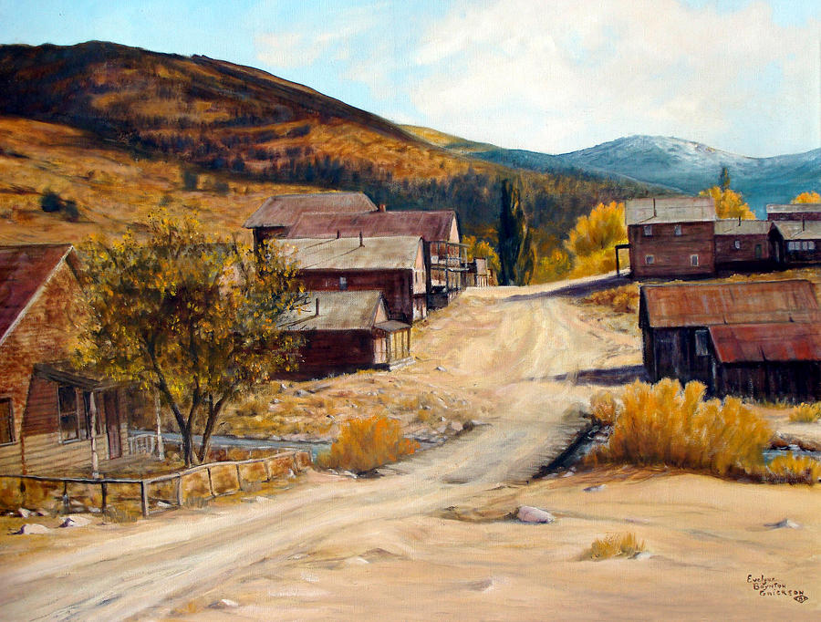 Ghost Town Painting - Population 0 Ghost Town Of Silver City Idaho by Evelyne Boynton Grierson