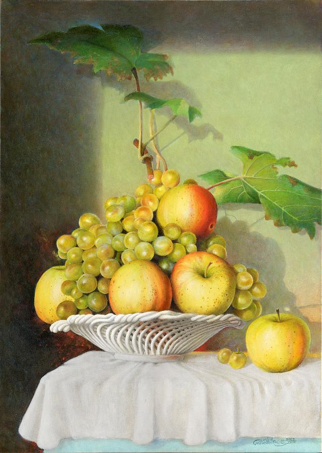 Still Life Painting - Porcelain Fruit Bowl by Giuseppe Mariotti
