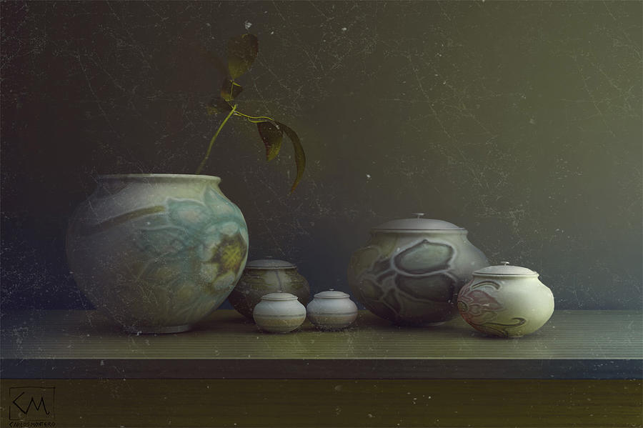 Porcelain Vases Digital Art by Carlos Monteiro