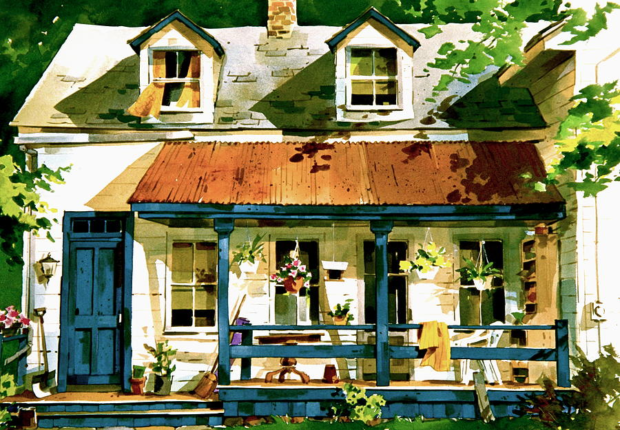 Front Porch Scene Painting - Porch by Art Scholz