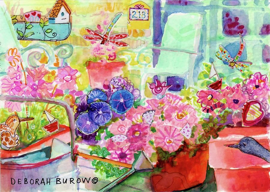 Porch Chairs Painting - Porch Flowers by Deborah Burow