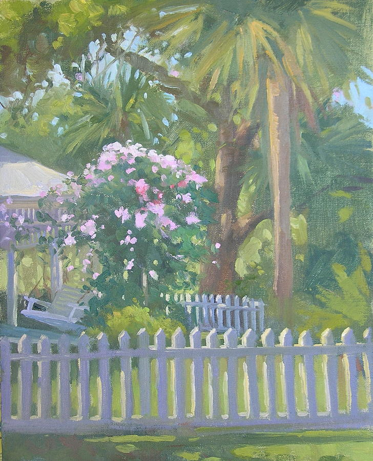Landscape Painting - Porch Full Of Roses by Katie Dobson Cundiff