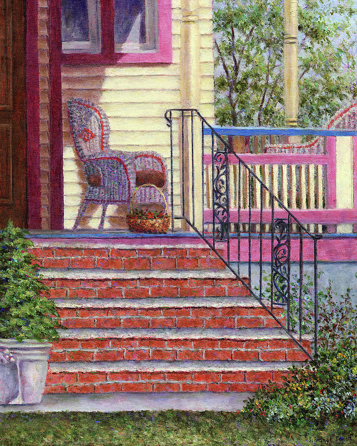 Porch Painting - Porch With Basket by Susan Savad