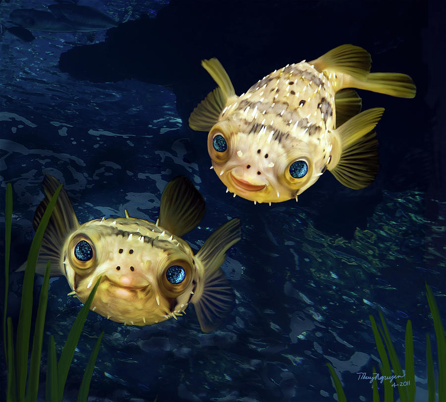Porcupine puffer digital art by thanh thuy nguyen for A puffer fish