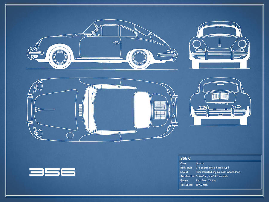 Porsche 356 c blueprint photograph by mark rogan porsche photograph porsche 356 c blueprint by mark rogan malvernweather Images