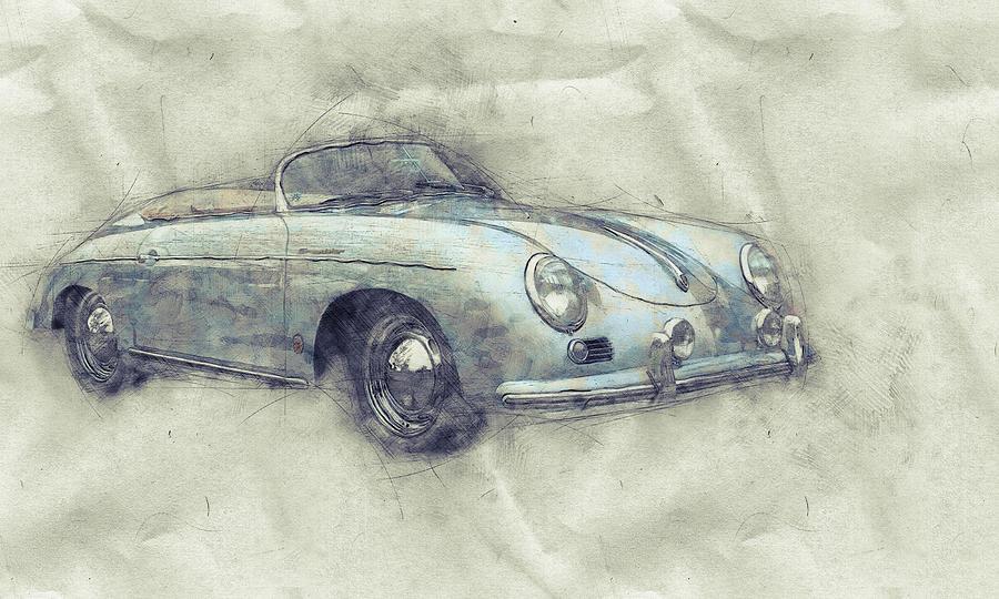 Porsche 356 - Luxury Sports Car 1 - 1948 - Automotive Art - Car Posters Mixed Media