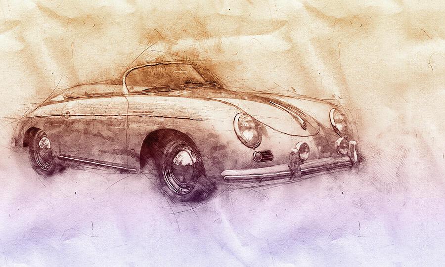 Porsche 356 - Luxury Sports Car 2 - 1948 - Automotive Art - Car Posters Mixed Media