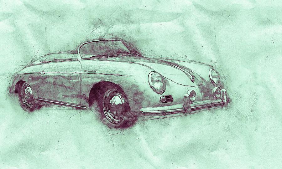 Porsche 356 - Luxury Sports Car 3 - 1948 - Automotive Art - Car Posters Mixed Media