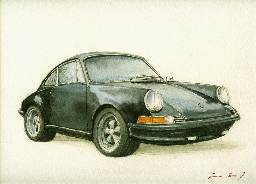 Porsche 911 Classic Car Art Painting By Juan Bosco