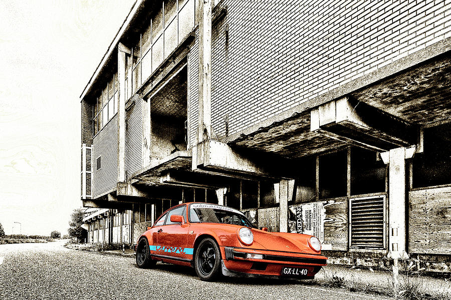 Porsche 911 in orange and gold Photograph by 2bhappy4ever