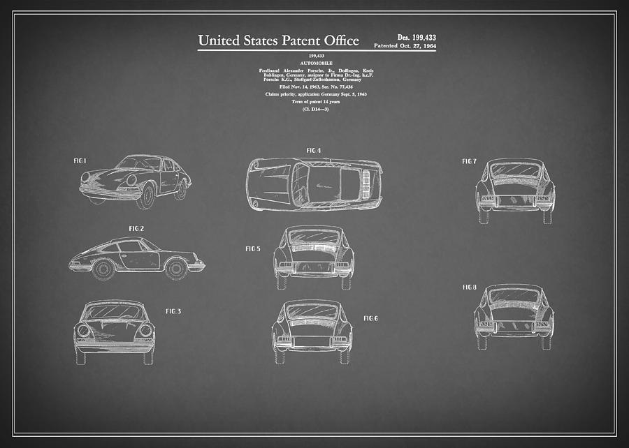Porsche 911 Photograph - Porsche 911 Patent 1964 by Mark Rogan