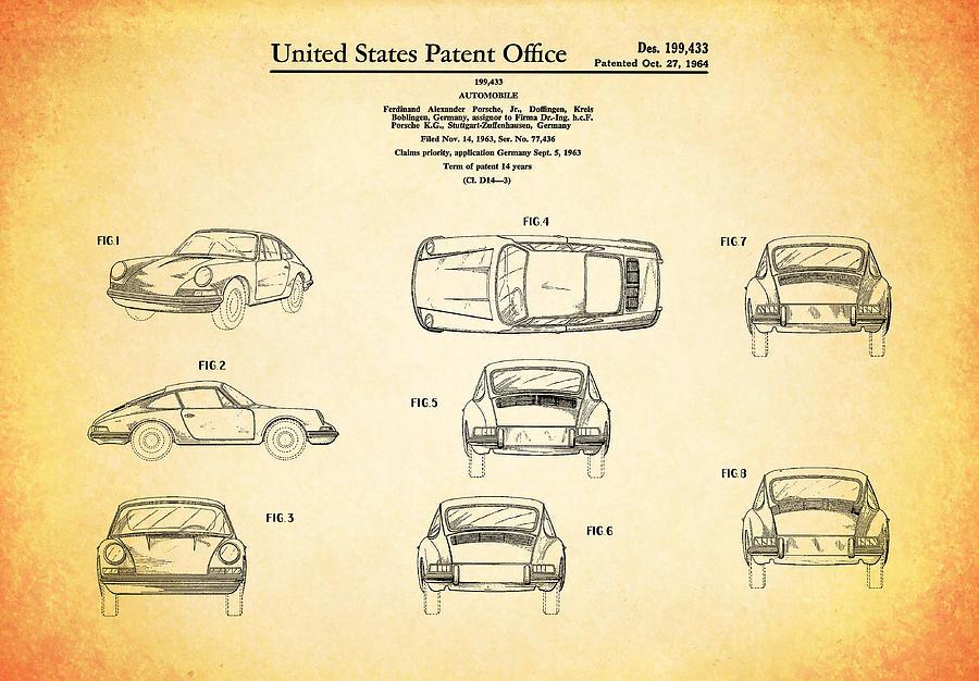 Porsche 911 Photograph - Porsche 911 Patent by Mark Rogan