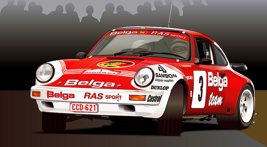 Porsche 911 Rally Illustration Digital Art by Alain Jamar
