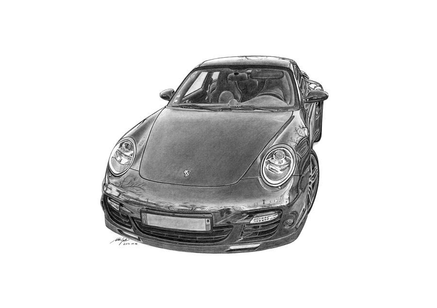 Porsche Drawing - Porsche 911 Turbo by Gabor Vida