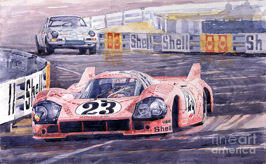Watercolor Painting - Porsche 917-20 Pink Pig Le Mans 1971 Joest Reinhold by Yuriy  Shevchuk