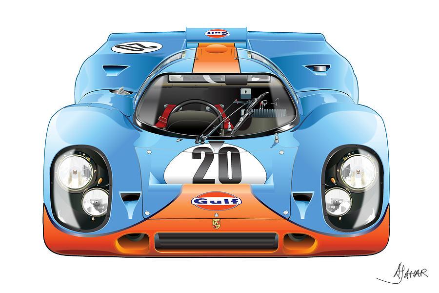 Digital Illustration Digital Art - Porsche 917 Gulf On White by Alain Jamar