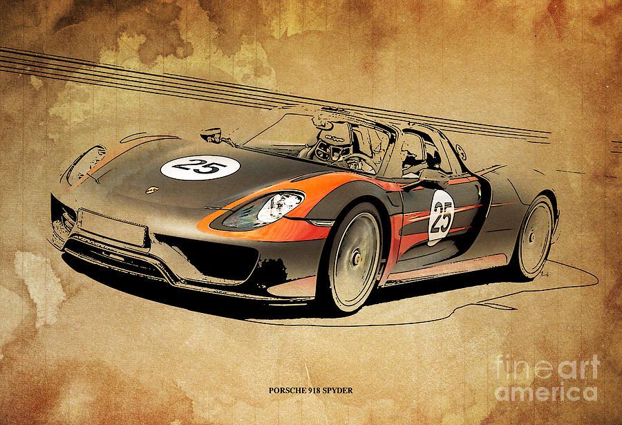 Porsche 918 Spyder Drawing By Drawspots Illustrations