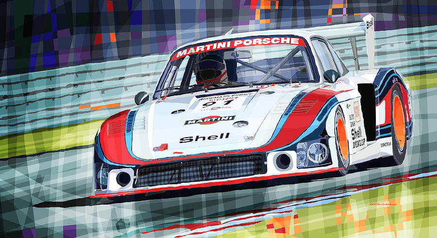 Automotive Drawing - Porsche 935 Coupe Moby Dick Martini Racing Team by Yuriy  Shevchuk