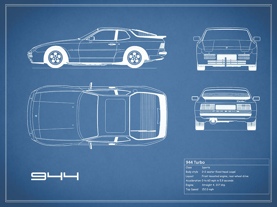 Porsche 944 Blueprint Photograph By Mark Rogan