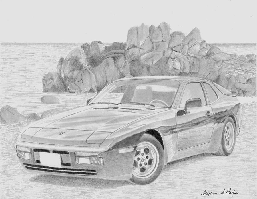 Porsche 944 Sports Car Art Print Drawing By Stephen Rooks