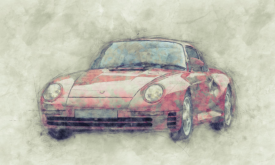 Porsche 959 - Sports Car 1 - Roadster - 1986 - Automotive Art - Car Posters Mixed Media