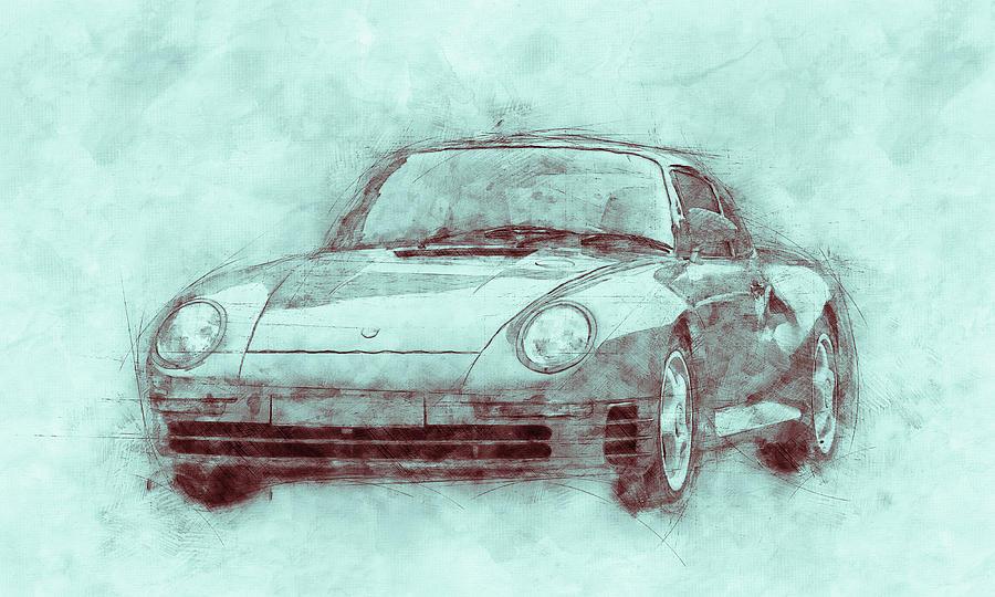 Porsche 959 - Sports Car 3 - Roadster - 1986 - Automotive Art - Car Posters Mixed Media