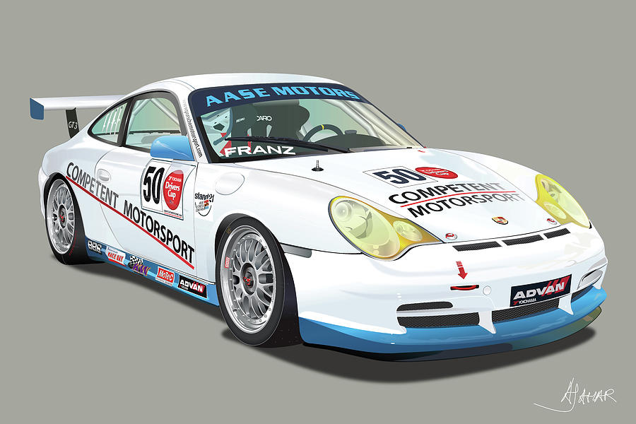 porsche 996 gt3 cup digital art by alain jamar. Black Bedroom Furniture Sets. Home Design Ideas