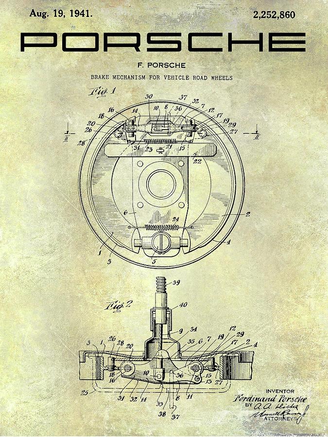 Porsche Patent Photograph - Porsche Brake Mechanism Patent by Jon Neidert