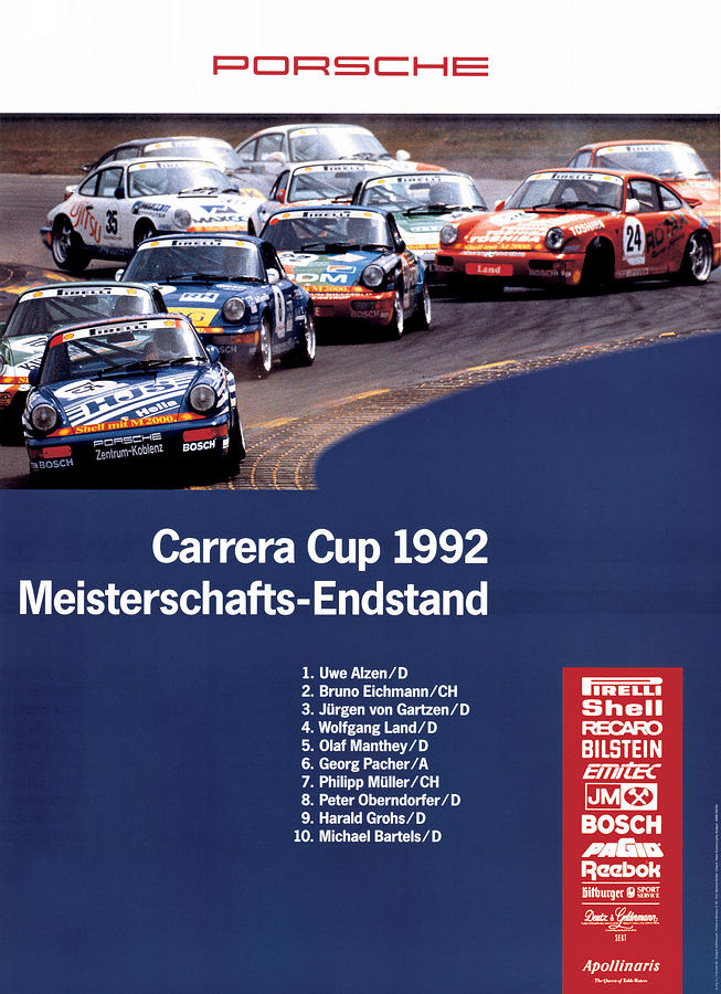Porsche Digital Art - Porsche Carrera Cup 1992 by Georgia Fowler
