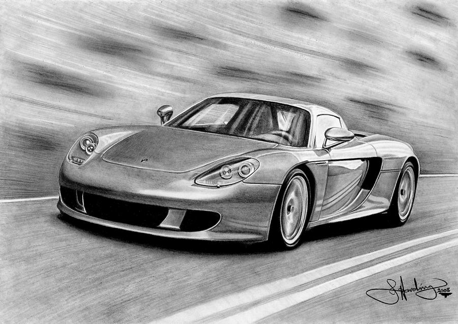 Porsche Carrera Gt Drawing Drawing By John Harding