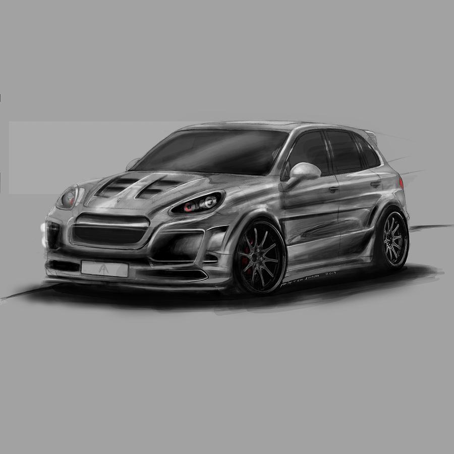 Porsche Digital Art - Porsche Cayenne Gray Artrace Body-kit by Artem Sinitsyn