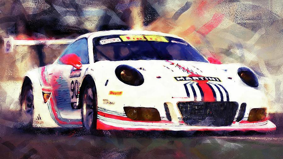Porsche Gt3 Painting - Porsche Gt3 Martini Racing - 04 by Andrea Mazzocchetti