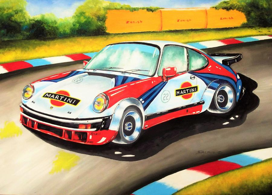Porsche In Action Painting by Anne Dalton