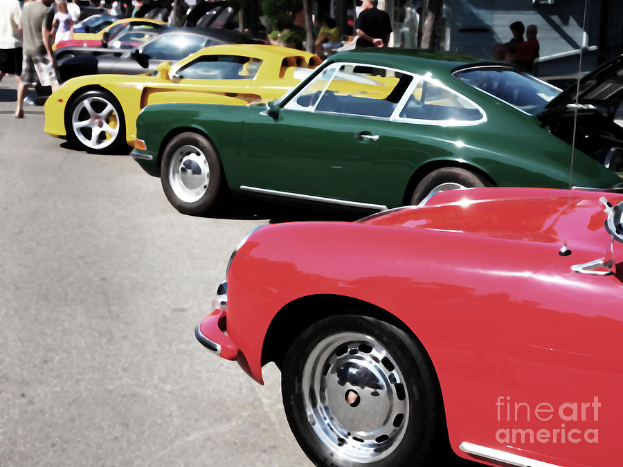 Car Digital Art - Porsche Row Digital Interpretation by Wingsdomain Art and Photography