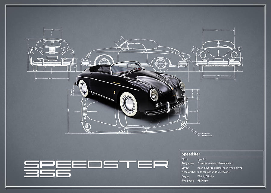Porsche Speedster Blueprint Photograph By Mark Rogan
