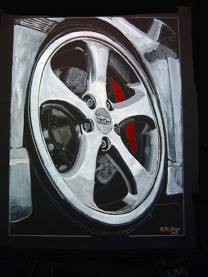 Porsche Painting - Porsche Techart Wheel by Richard Le Page
