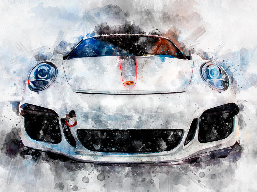 Porsche Watercolor by Michael Colgate