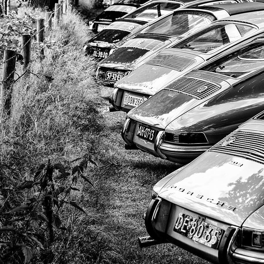 Porsches 912 asses bw Photograph by 2bhappy4ever